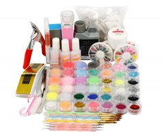 1106 Acryl nail art set met tips / glitters / liquid / gelnagels