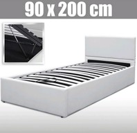 0039 Bed Wit 90 x 200 cm kunstleder plus lattenbodem
