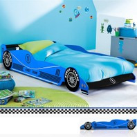 0923 Kinderbed autobed bed in model auto kleur blauw