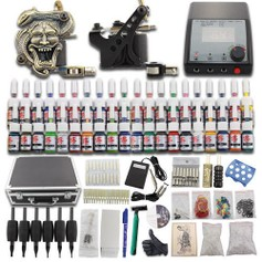 1112 Complete Tattoo Kit Set 2 Guns Kompleet mt 40 kleuren Koffer