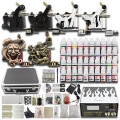 1113 Complete Tattoo Kit Set 6 Guns Kompleet mt 40 kleuren Koffer