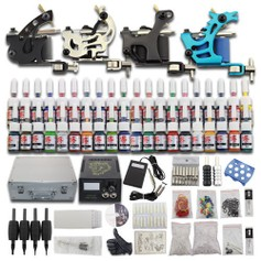 1115 Complete Tattoo Kit Set 4 Guns Kompleet 40 kleuren Koffer